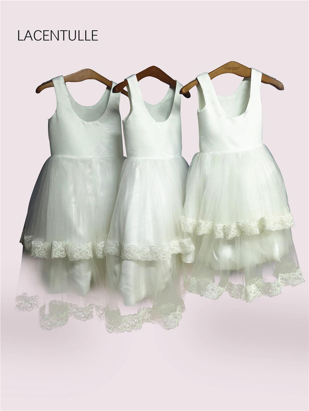 Scoop Neck Tea Length Tank Flower Girl Dress With Double Tiered