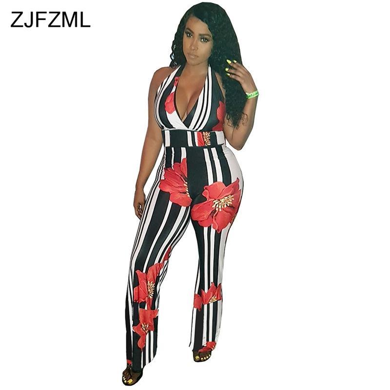 c1093f8c202 2019 ZJFZML Flower Print Sexy Wide Leg Jumpsuit Women Deep V Neck  Sleeveless Long Romper Summer Black White Vertical Striped Overalls From  Qingyun1996
