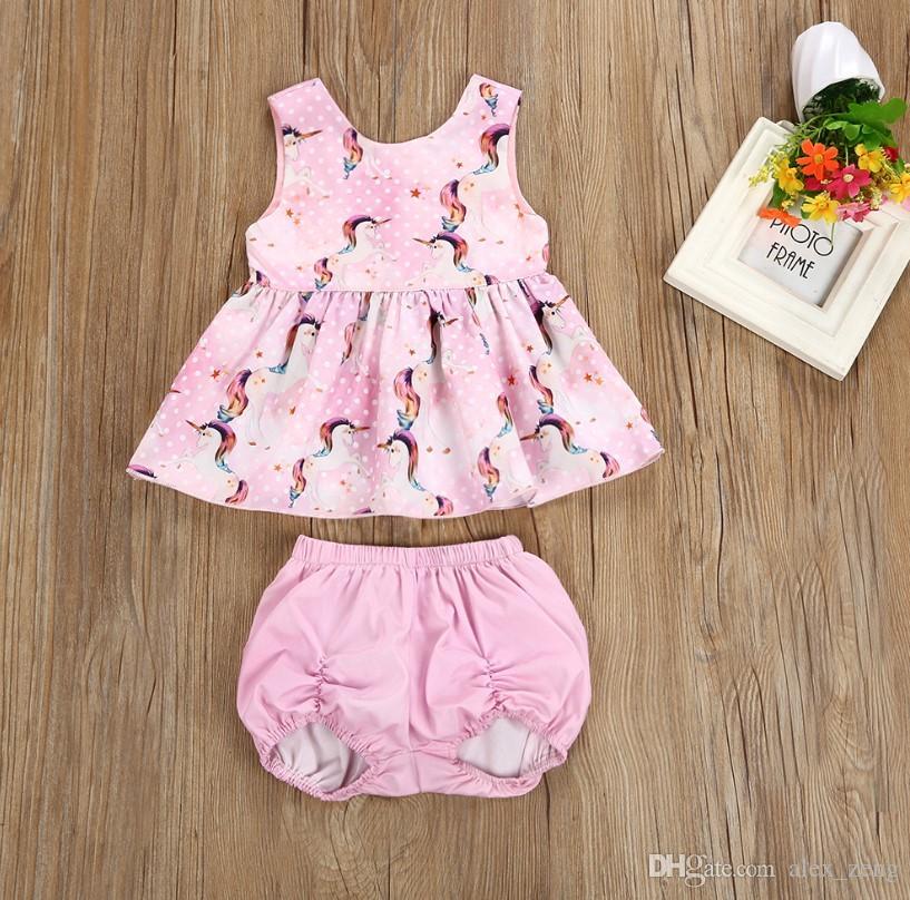 2018 Summer Girl Set Cute Newborn Baby Girls Clothes Set Unicorn Sleeveless  Tops Dress With Shorts Cotton Infant Girls Outfits Set UK 2019 From  Alex zeng f94600a58b