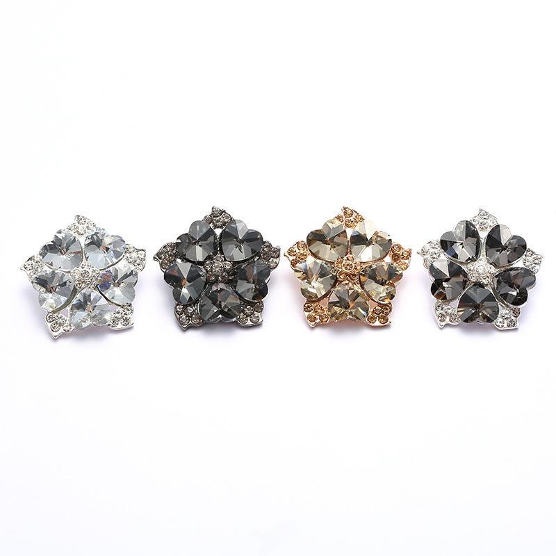 Gun Black/Gold/Silver Heart-shaped crystal buttons diamond buckles mink DIY  coat clothing fur button rhinestone decorative buckle 30mmZK930