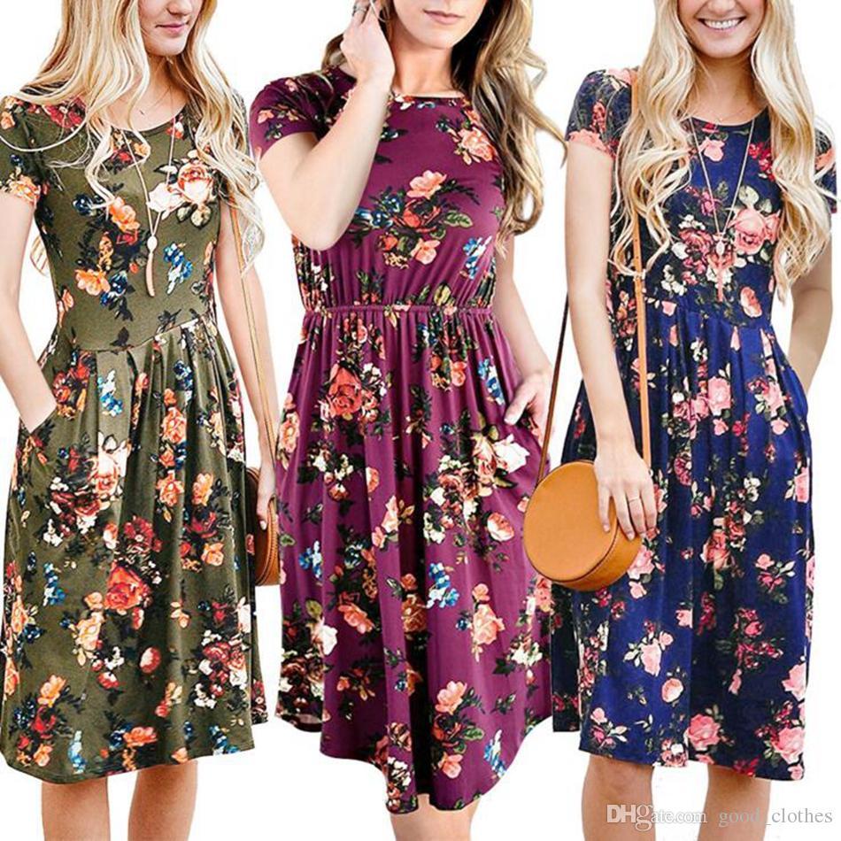 37c0e7eb9d Compre Mulheres Verão Floral Impresso Vestido O Pescoço Estilo Vintage  Curto Alargamento Da Luva Floral Imprimir Vestidos De Flores Vestidos De  Festa À ...