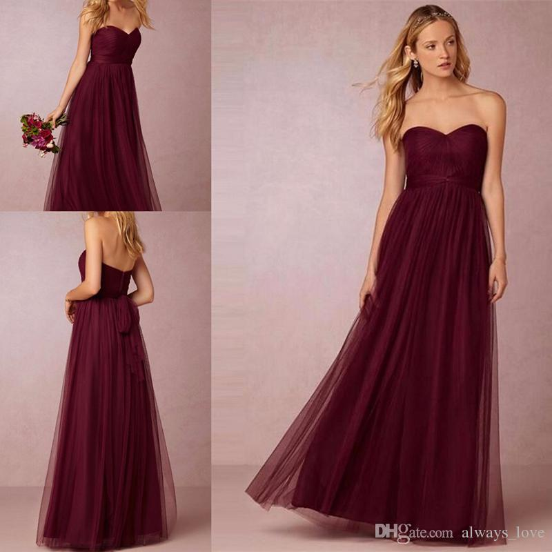 Under 100 Burgunday Bridesmaid Dress Wine Red Formal Maid Of Honor ...
