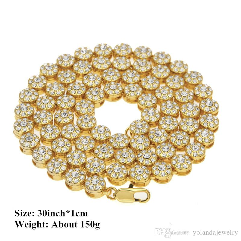 Men's 1 Row Cluster Chain Yellow Silver Black Gold Color Iced Out Rhinesone Diamond Hip Hop Men Chain Necklace Jewelry Nice Gift