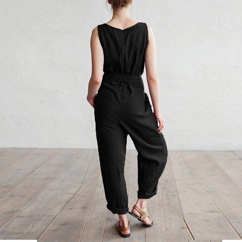 Celmia Women Summer Jumpsuits 2018 Elegant Work Office Pants Sleeveless Rompers Elegant Casual Cotton Linen Overalls Palazzo