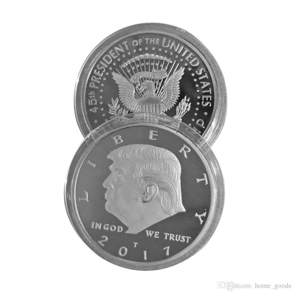 2019 Gold Silber Metallhandwerk Münze Abzeichen Amerikaner 45. Präsident Donald Trump Skulptur Nichtwährung Gedenkmünze EAGLE Sammlung Münze