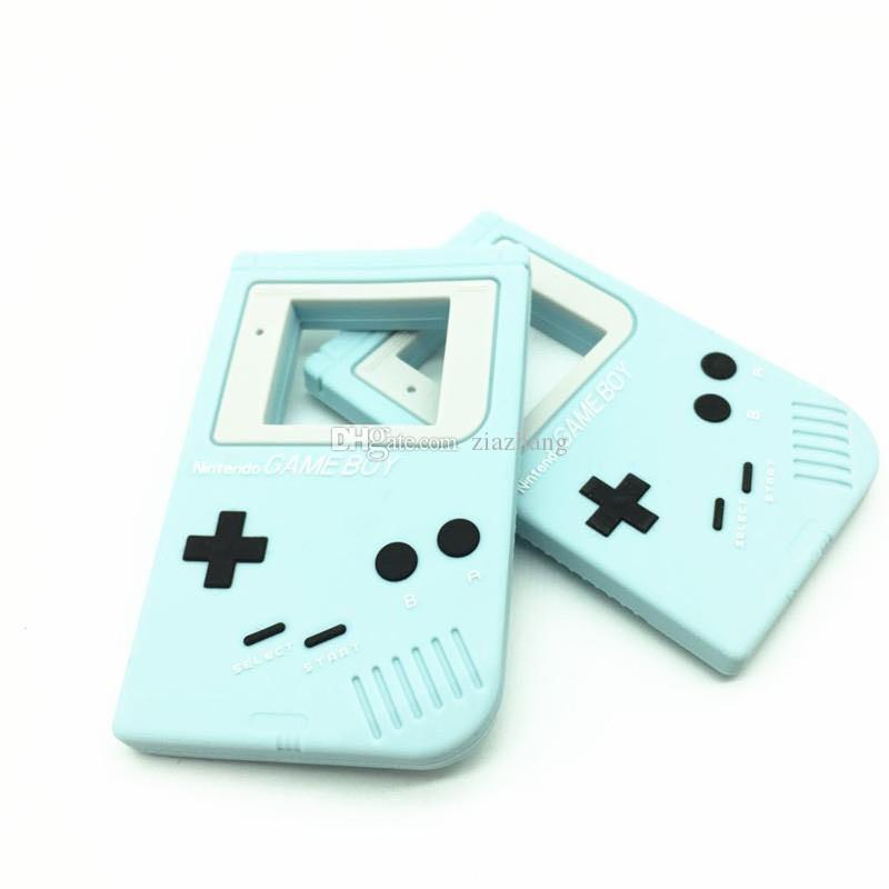 10 Yeni Gameboy Silikon Dişlikleri Bebek Diş Çıkarma Kolye Kolye BPA Ücretsiz Çiğneme Gameboy Şekil Charm Kolye Güvenli Hemşirelik Teethers Kolye