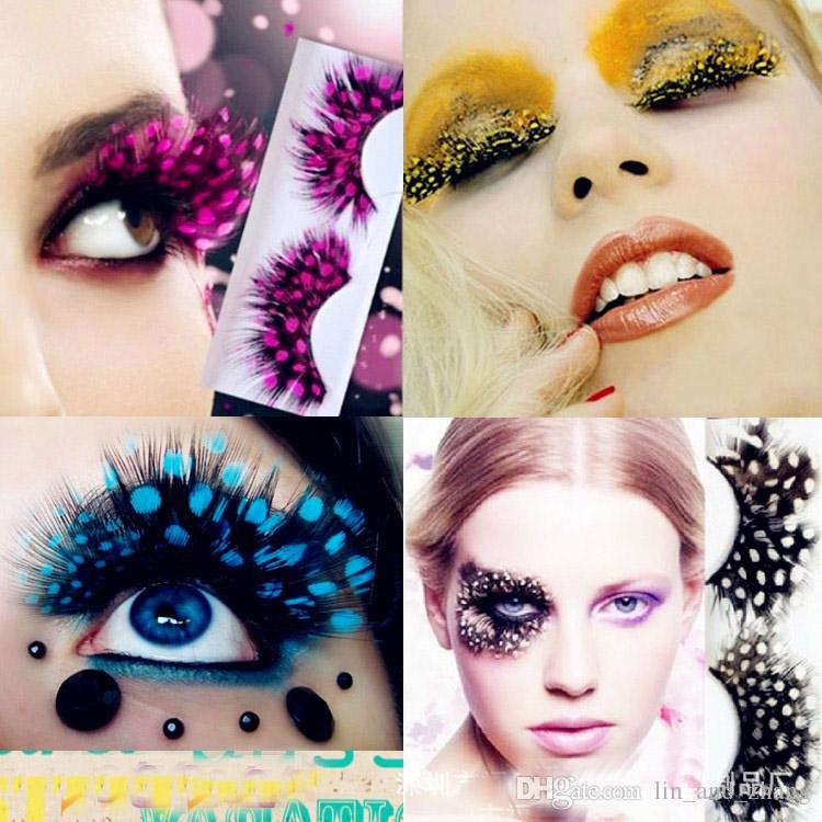 Feather False Eyelashes Eyes Makeup 2018 Hot Colorful BeautyFeather eyelashes for party red dots stage exaggeration