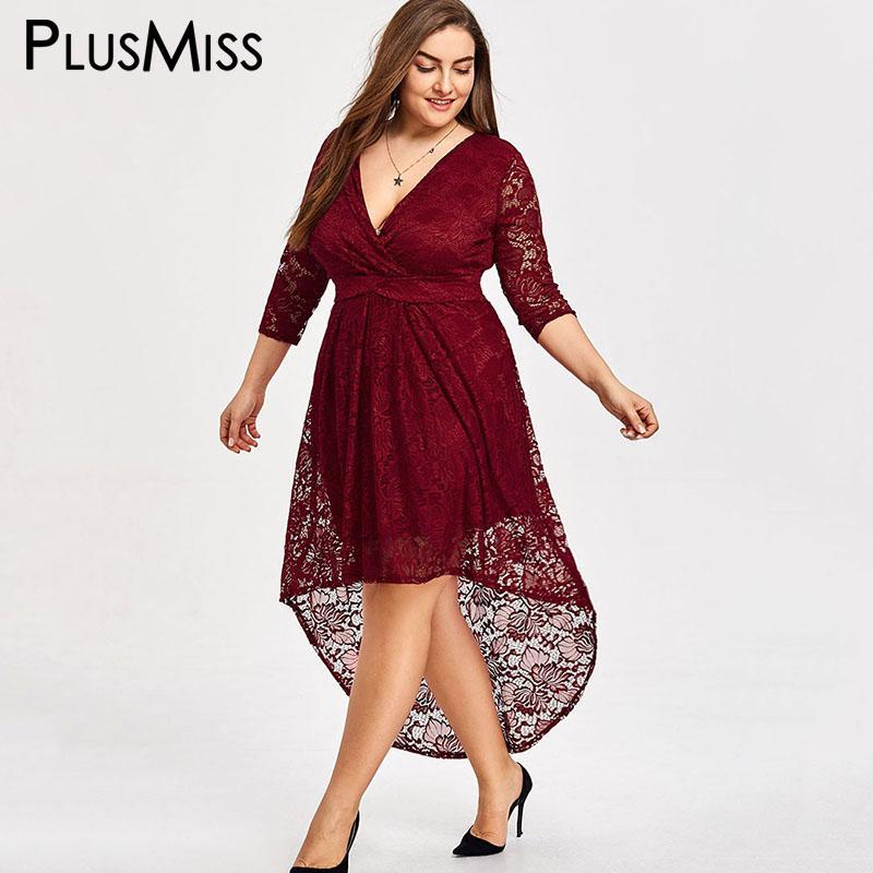 2019 Plusmiss Plus Size 5xl High Low Vintage Lace Crochet Dress