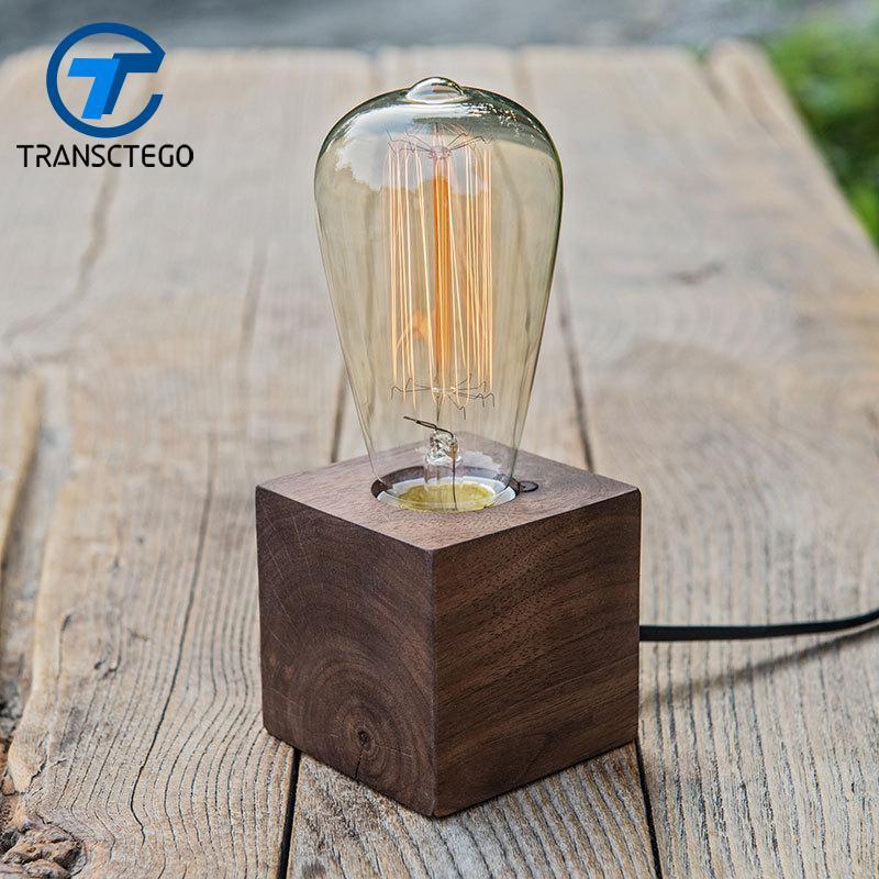 Wood Desk Lamp Vintage Table Lamps For Bedroom Creative Decoration - Vintage table lamps for bedroom