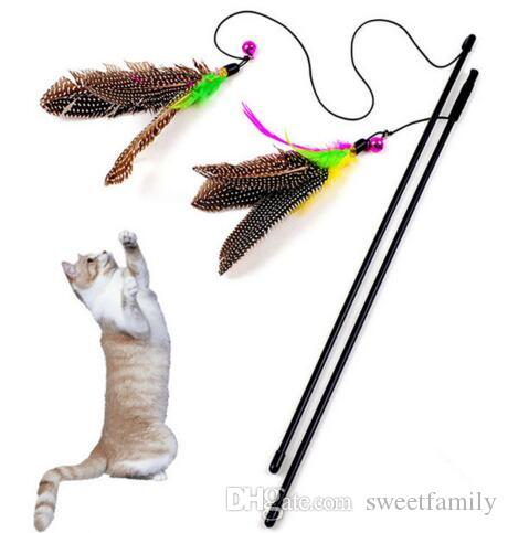 Colorful Multi Pet Cat Toys Cute Design Bird Feather Teaser Wand Plastic Pet Toys Products For Cat Toy CSV Drop Shipping
