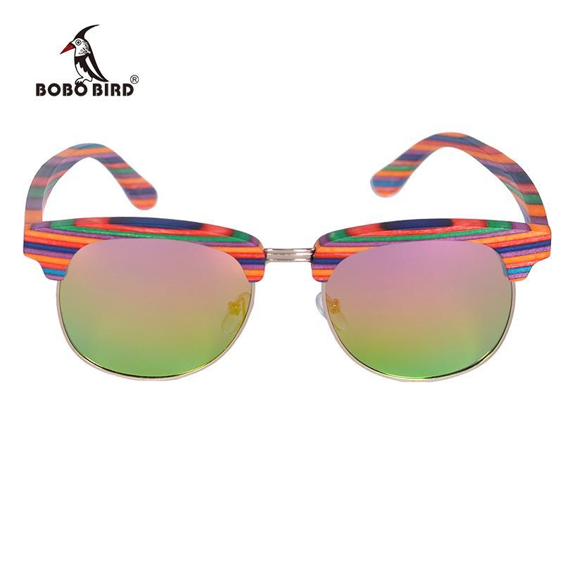 ca31f764d1723 Compre Venda Por Atacado Óculos De Sol Mulheres Óculos De Madeira Coloridos  Lente Polaroid Uv400 Goggle Com Presente Caixa De Madeira Logotipo  Personalizado ...