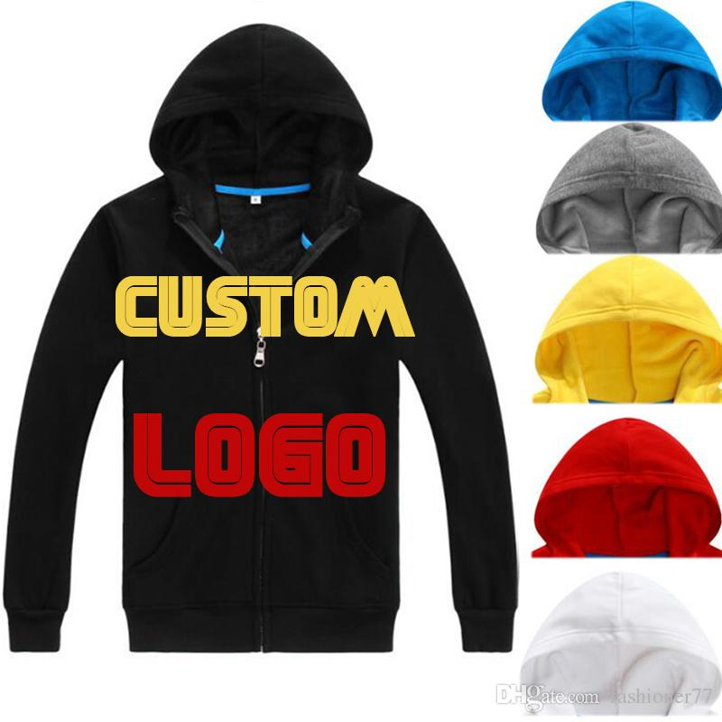 dedc17d5512d 2019 High Quality Zipper Up Velvet Lined Men Hoodie Custom Logo Black Grey Red  Navy Blue Yellow Print Embroidery From Fashioner77, $20.3 | DHgate.Com