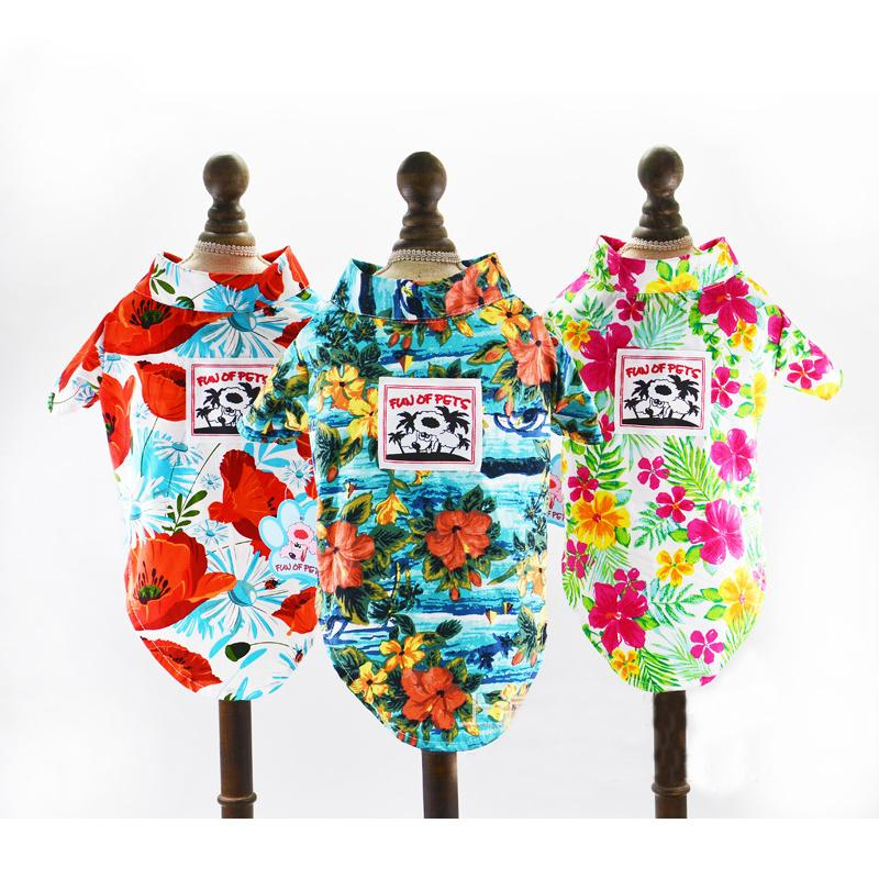 68969aaf52359 Dog T -Shirt Summer Cotton Hawaiian Beach Pet Vest Short Sleeves Puppy Cat  Printed Floral Pets Shirts Clothes Doggyzstyle