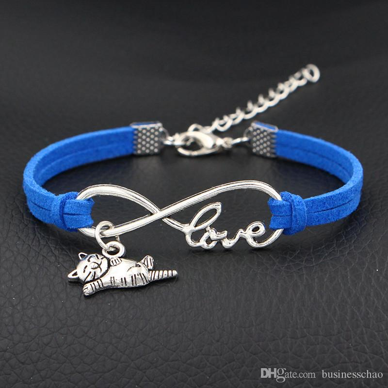 Dark Blue Leather Suede Charm Bracelet Women Men Vintage Infinity Love Cat Cuff Bangle Adjustable Buckle Wristband Male Jewelry dropshipping