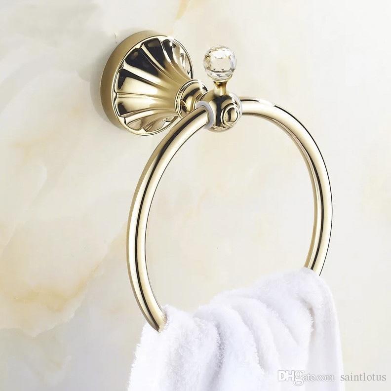 Portasciugamani in cristallo dorato Asciugamano da bagno in acciaio inox Anelli a parete Portasciugamani da bagno lucidati