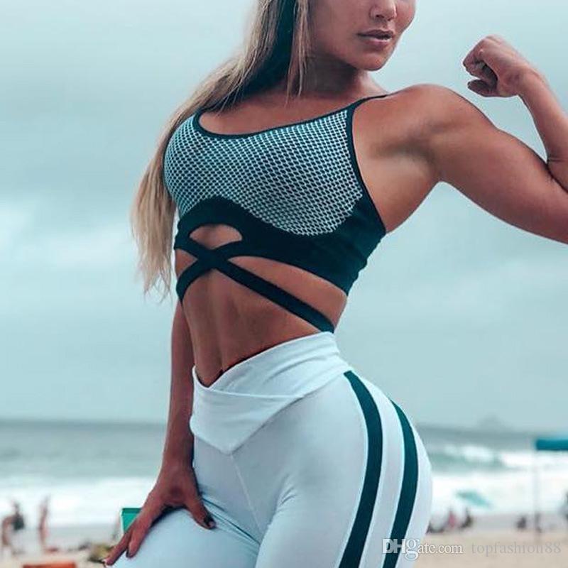 5c3ae7b25df09 2019 Women Sexy Club Mesh Athleisure Fitness Bandage Short Tank Tops Vests  Girl Backless Slim Workout Yoga Gymnasium Bra Camisoles From Topfashion88