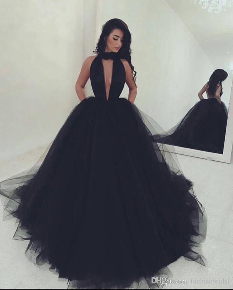 2e58c09ca7b2 Halter Backless Black Ball Gown Prom Dress Deep Low Cut V Neck Pageant Gown  High Neck Long Formal Occasion Gown Plus Size Mint Green Prom Dresses  Perfect ...