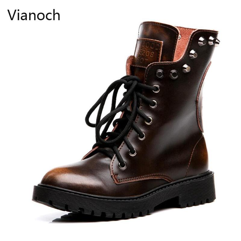 28f045957 Vianoch New Fashion Motorcycle Boots Women Casual Winter Warm Mid Calf  Boots Shoes Woman Block Heel Fur Shoe Big Size Wo1808136 Sporto Boots Boys  Boots From ...