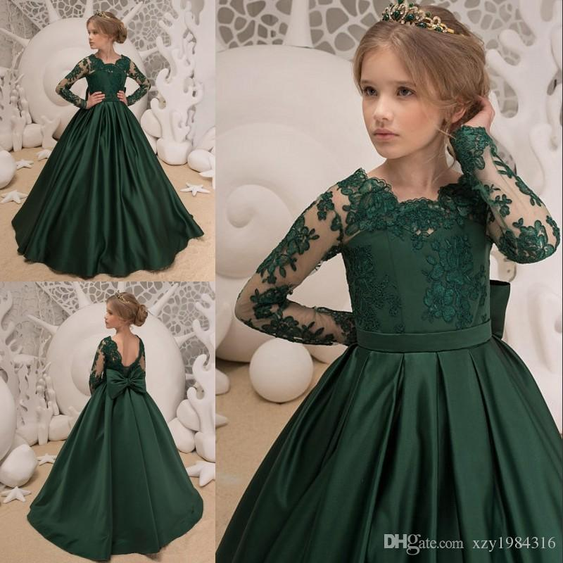 5bf15e3f3132 Dark Green Satin Girls Pageant Dresses Lace Applique Jewel Neck Long Sleeve  A Line Flower Girl Dress Lovley Bow Back Toddler Bithday Dresses Little  Girls ...