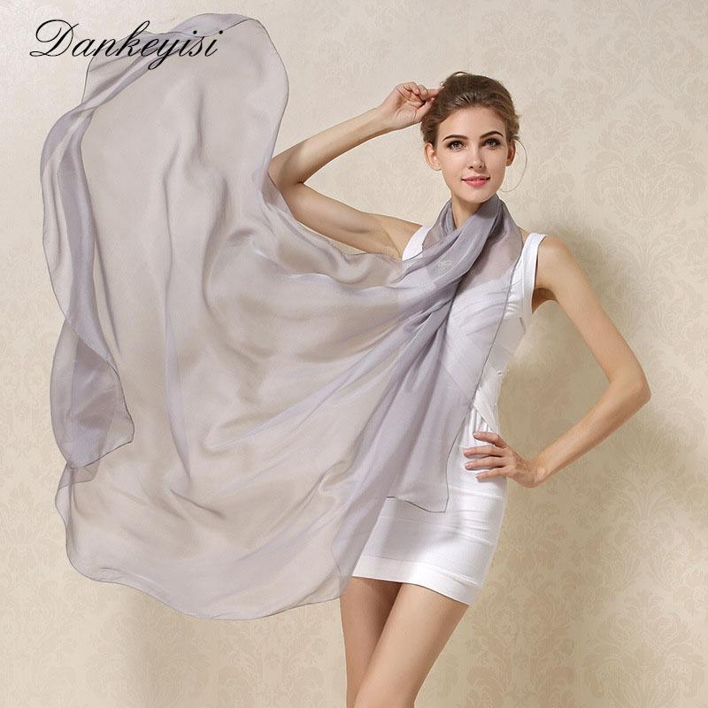 75aee3847c9 DANKEYISI Women 100% Natural Silk Scarf Shawl Female Pure Silk Scarves  Wraps Solid Color Plus Size Shawls Long Beach Cover-ups