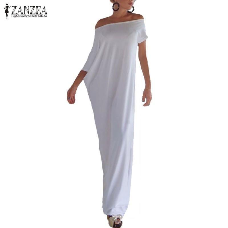 3b0d9116e2 Zanzea Fashion Women Summer Dress 2017 Boho Casual Irregular Long Maxi  Party Dresses Sexy Solid Vestidos Plus Size S 3XL Casual Long White Summer  Dresses ...