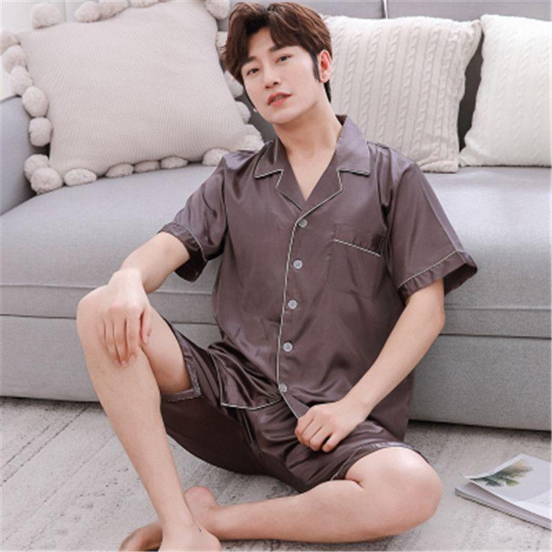 Mens Satin Silk Pyjamas Set Sleepwear Loungewear Short Sleeve T-Shirt + Shorts V-Neck Size L-3XL Silk Sleepwear Plus Sexy Modern