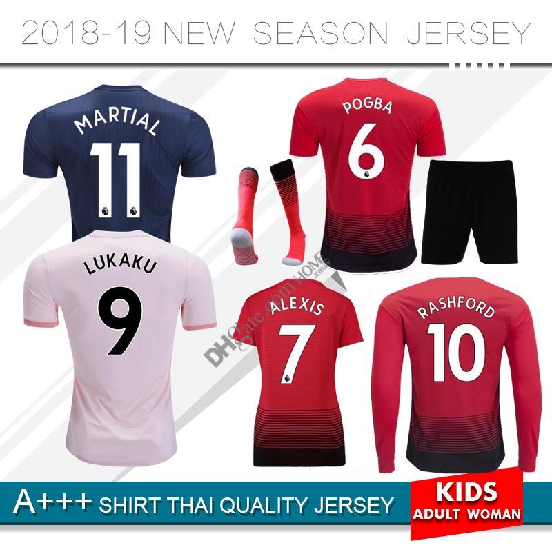 63b47c351 18 19 Manchester United Soccer Jersey POGBA ALEXIS LUKAKU LINGARD ...
