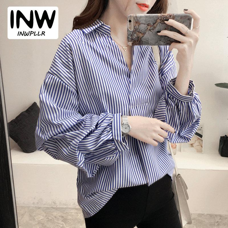 Manches Rayas Automne Casual Mujer Moda Cou Tops Blouses 2019 Bleu Puff Rayé Chemises Femme Taille Blusas V Femmes Grande OkZwiTXlPu