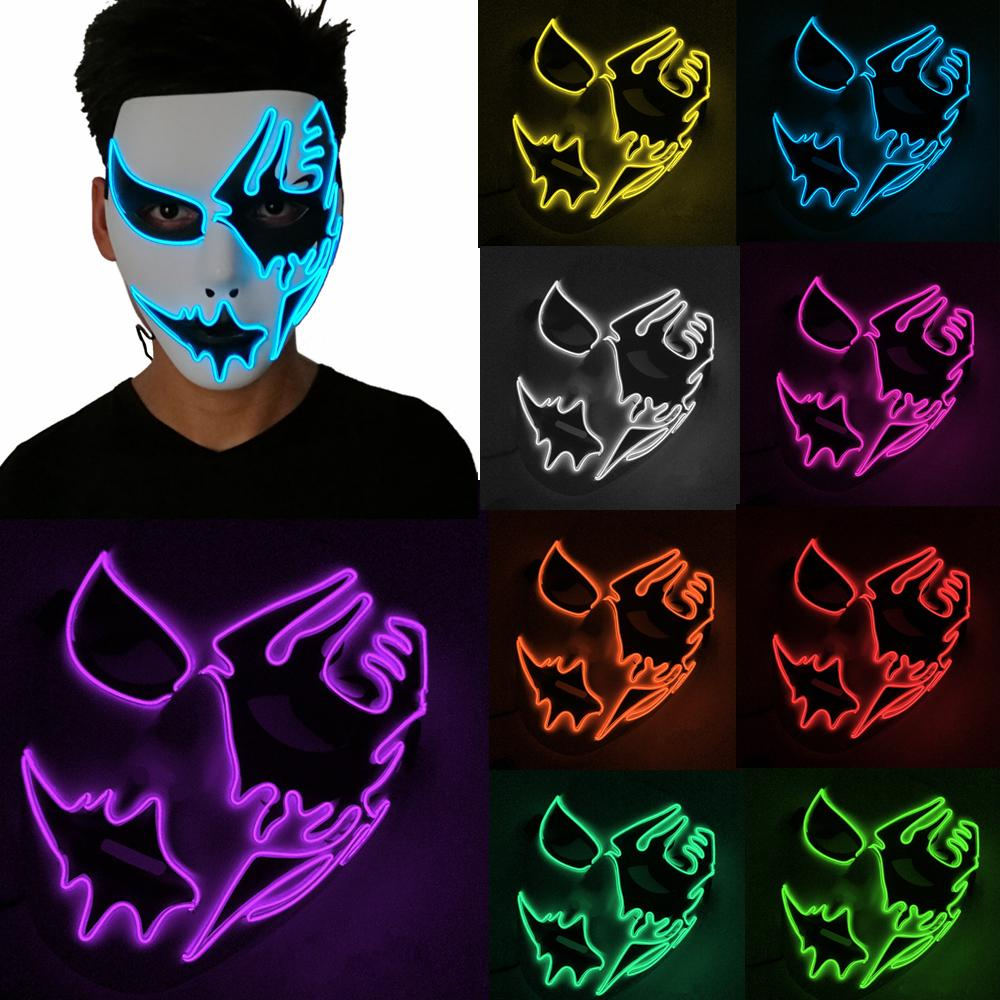 Luminous El Cold Light Line Ghost Mask Hand Painted LED Dance Party Cosplay Masquerade Street Dance Halloween Rave Toy AAA916