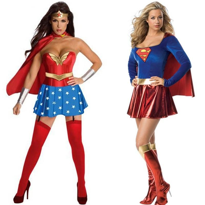 Sexy Wonder Woman and Supergirl Costume Fancy Party Dress Halloween Costume