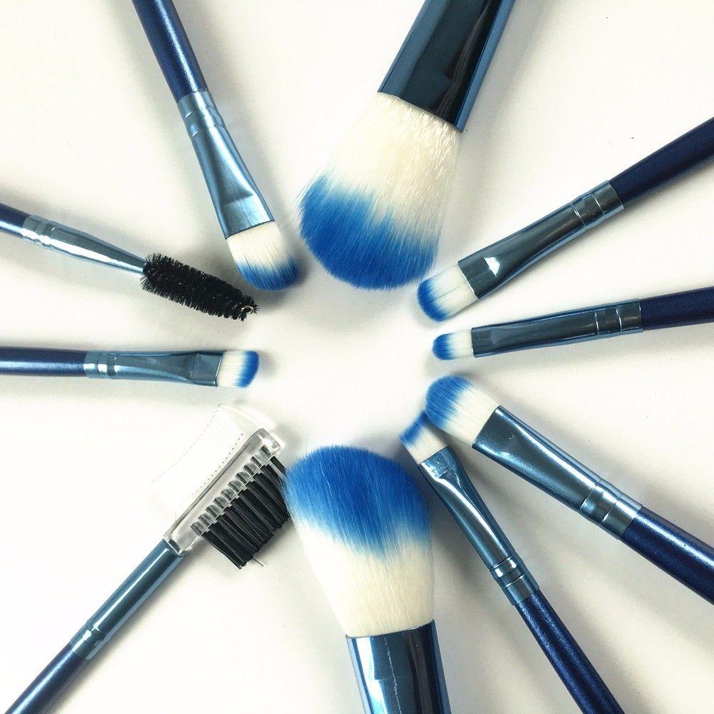 Großhandel 10 Stücke Schönheit Blau Heißer Make Up Pinsel Set