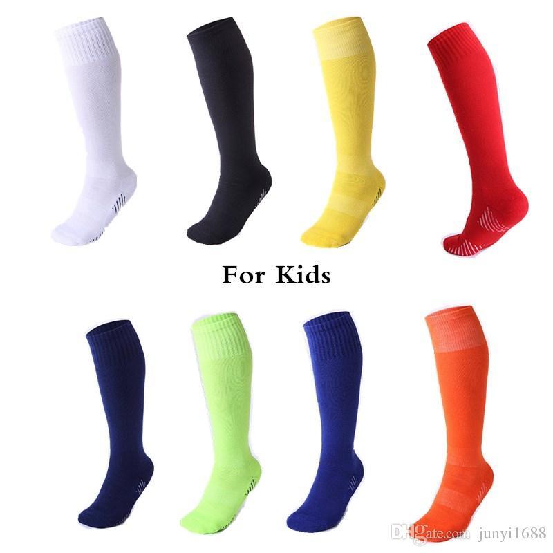 dc041ada8 2019 Children Professional Sports Soccer Socks Pure Color Knee High Boy  Girls Deodorization Towel Football Compression Sock For Kids From  Junyi1688