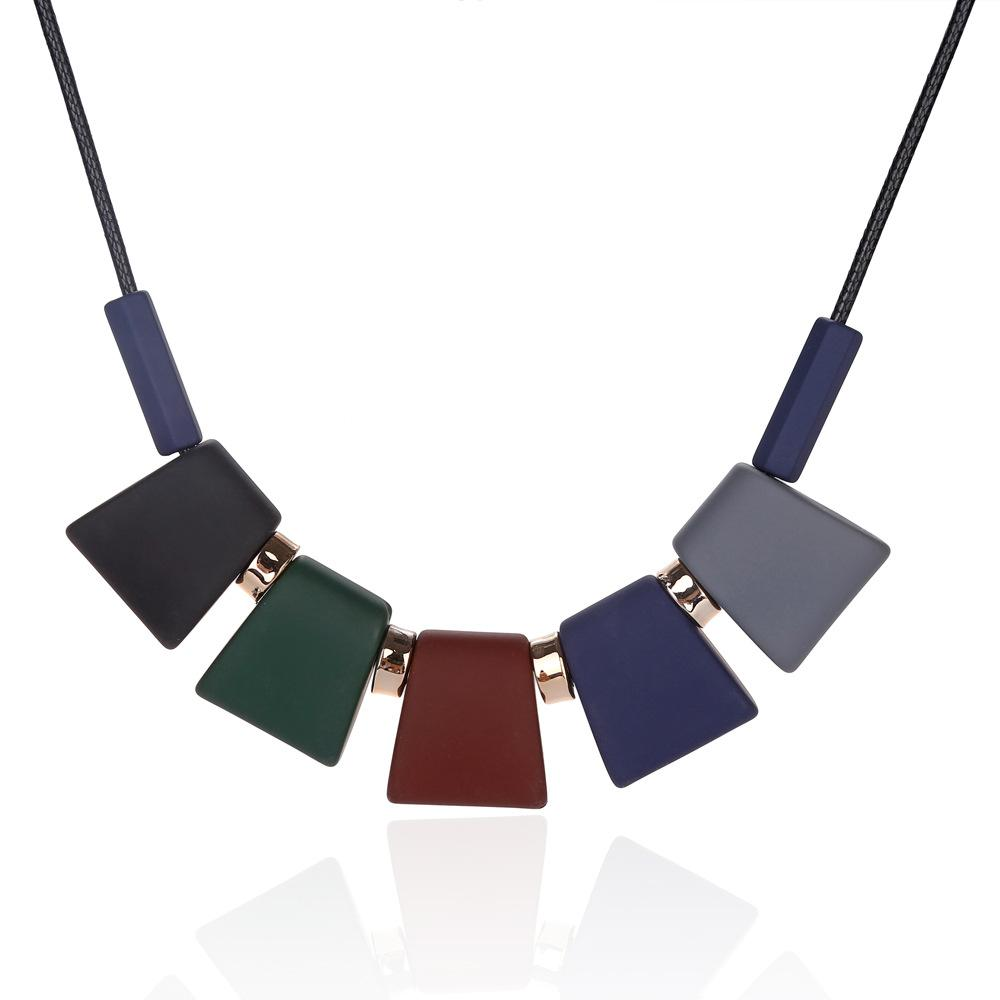 Fashion Glazed Scrub Block Pendant Necklace for Woman Girl All-match Multicolor Sweater Necklace Jewelry Gift Wholesale