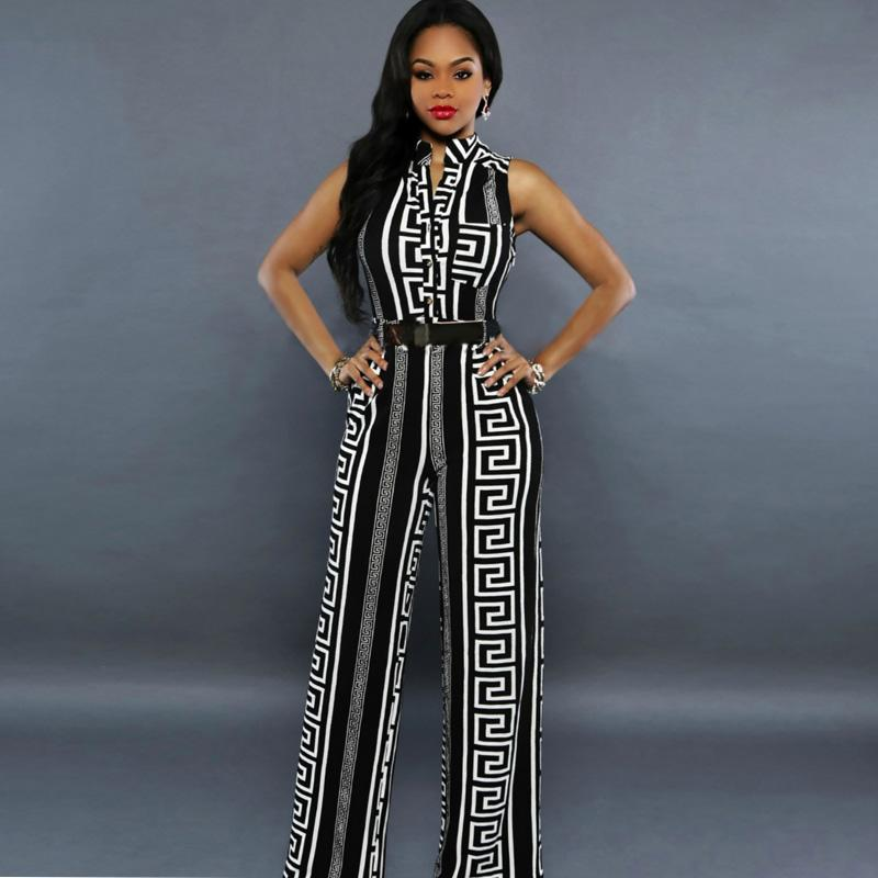 cce229137da 2019 Large Size Sleeveless Women Wide Leg Striped Print Jumpsuit Black  White Romper 2018 Summer Long Trouser Loose Pant Female Outfit From Beimu