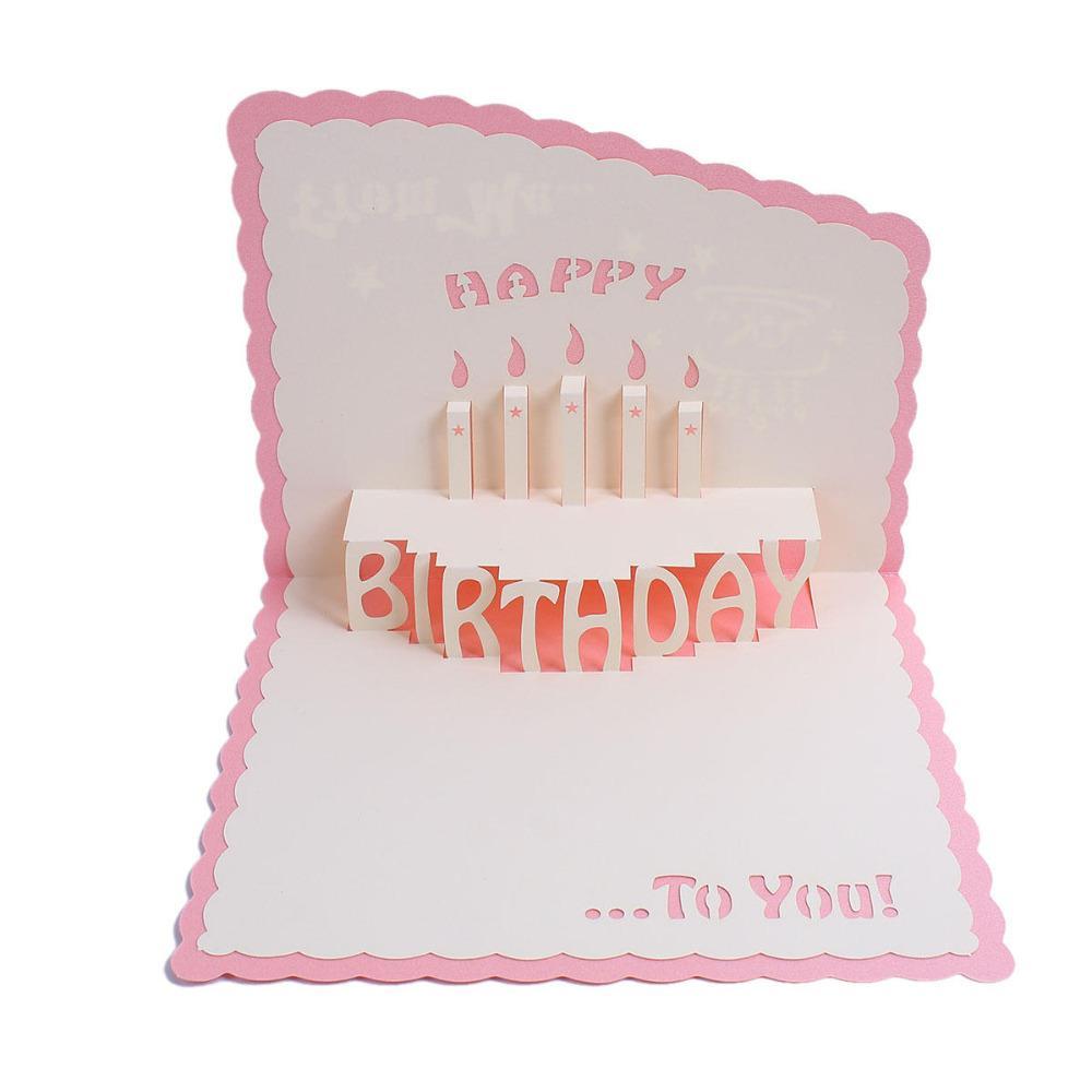 Doreenbeads 3d Handmade Happy Birthday Rectangular Paper Greeting