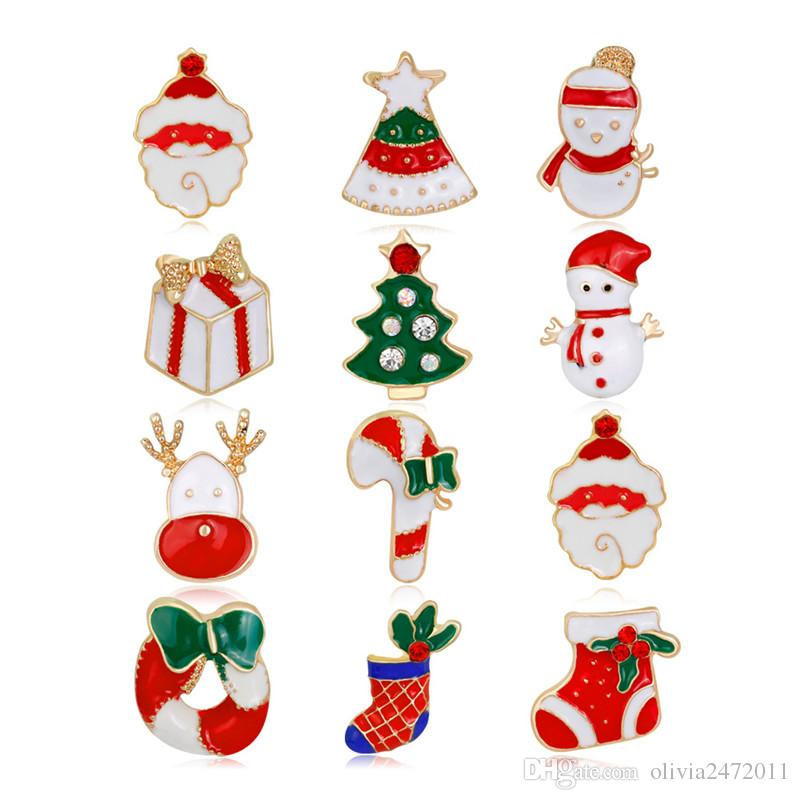 Fashion Christmas Boots Brooch Santa Claus Shoes Carriage Rhinestone Brooch Jewelry for Christmas Gifts 12pcs/Set DB