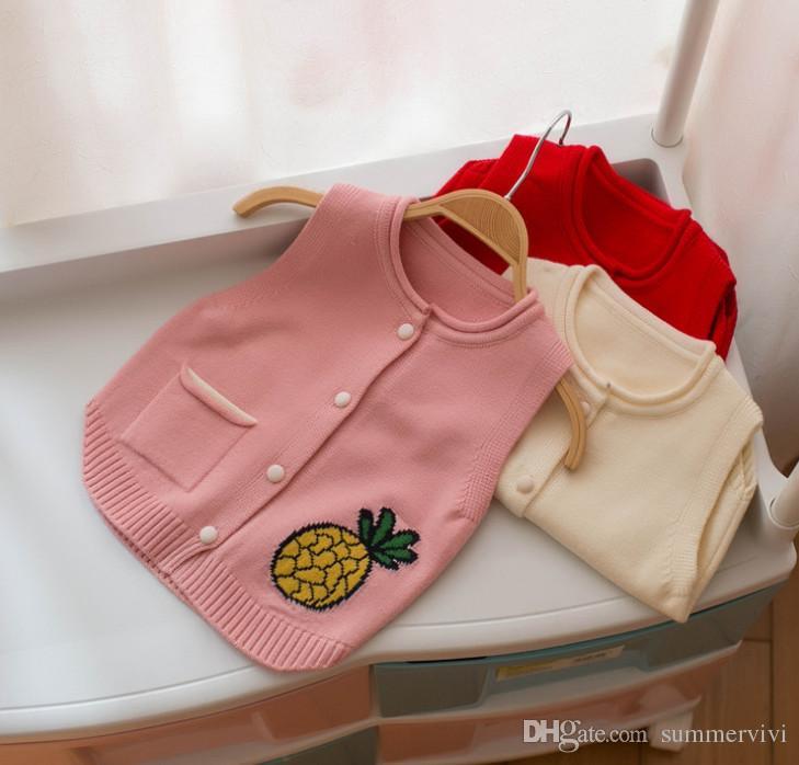 26d1df847 Girls sweater vest designer pineappler embroidery knitting sweater  waistcoat children round collar single pocket princess outwear Y9156