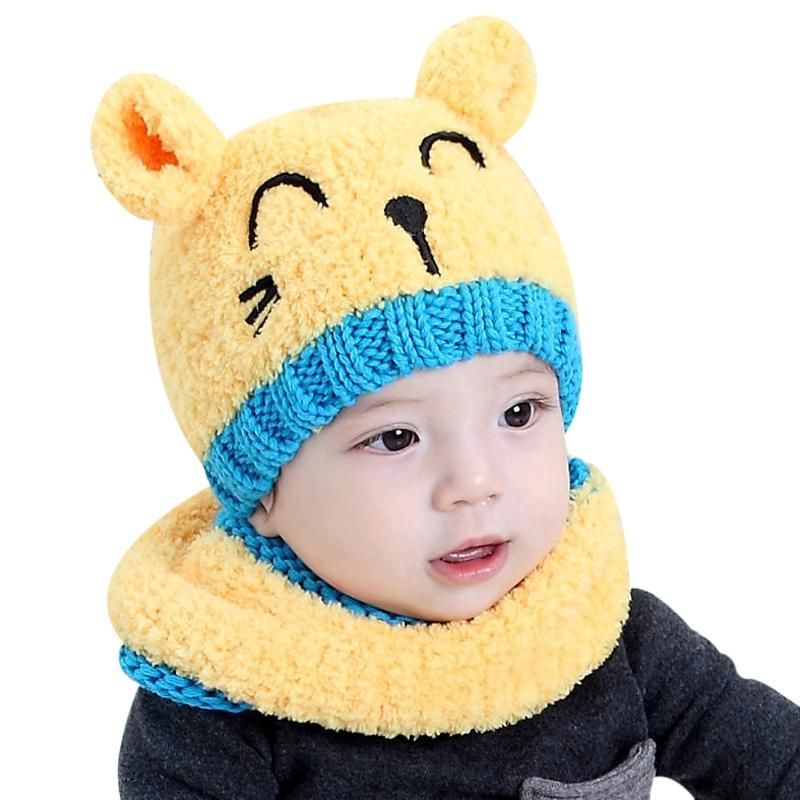 2121e4ef573 2017 Toddler Beanies Hat Woolen With Scarf Kids Girl Boy Baby Bonnet Enfant Winter  Warm Knit Skullies Ear Protector Beanie Cap Y18102210 Slouchy Beanie ...