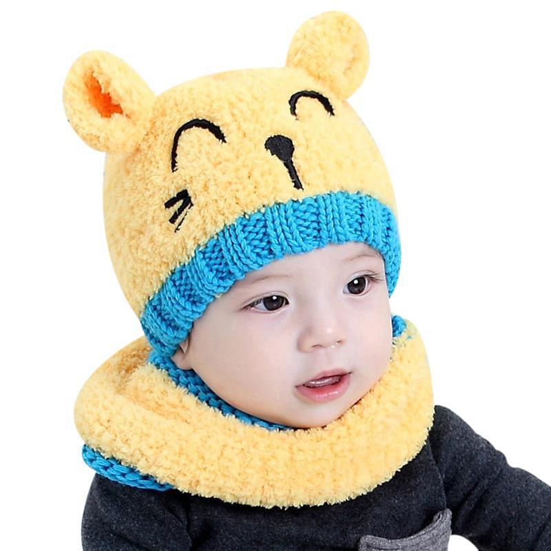 430787fad5a 2017 Toddler Beanies Hat Woolen With Scarf Kids Girl Boy Baby Bonnet Enfant  Winter Warm Knit Skullies Ear Protector Beanie Cap Y18102210 Slouchy Beanie  ...