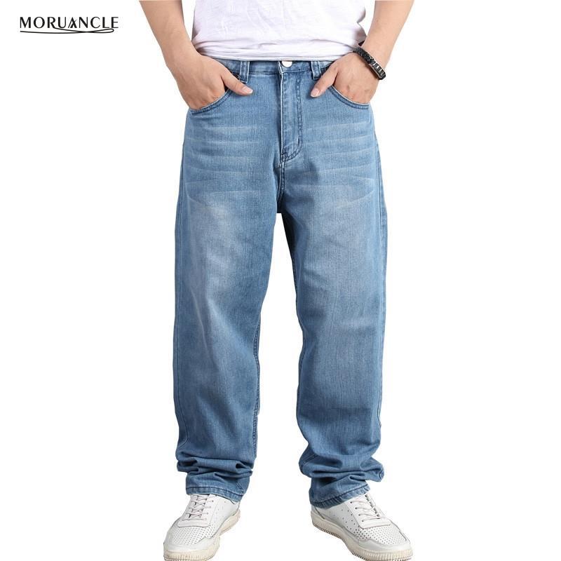 more photos clearance sale shop Gros-MORUANCLE Hommes Baggy Hip Hop Jeans Pantalon Lâche Skateboard Denim  Pantalon Streetwear Uni Solide Plus La Taille 30-46