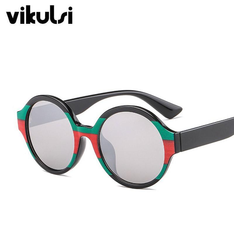 b64c9cdbb4 Compre Unisex Clásico Marca Gafas De Sol Redondas Mujeres Hombres Arco Iris  Colorido Raya 2019 Nuevas Gafas De Sol Mujer Verde Rojo Retro Tonos UV400 A  ...
