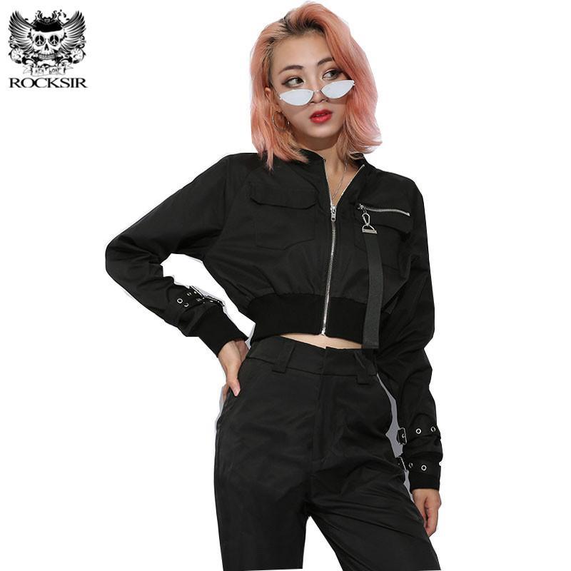 Acheter Rocksir Punk Noir Crop Top Veste Femmes Casual Zipper Court  Cardigan Manteau De Mode Boucle À Manches Longues Blouson Vélo De  32.95 Du  Pattern68 ... 4bfa6e6420d
