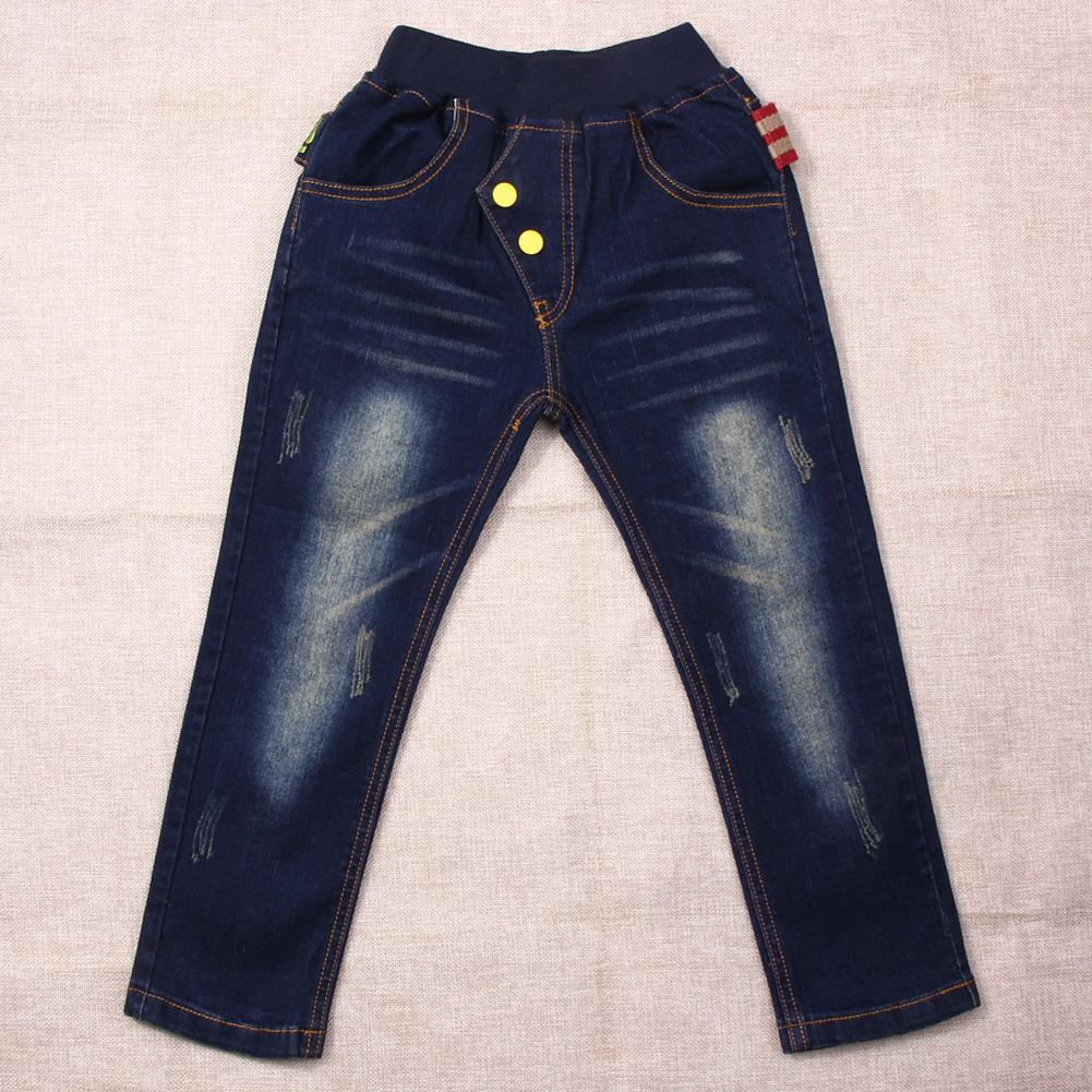 Kids Children Boys Jeans Spring Fashion Jeans Elastic Denim Pants Dark Blue Trousers Bottoms for 8-12Y