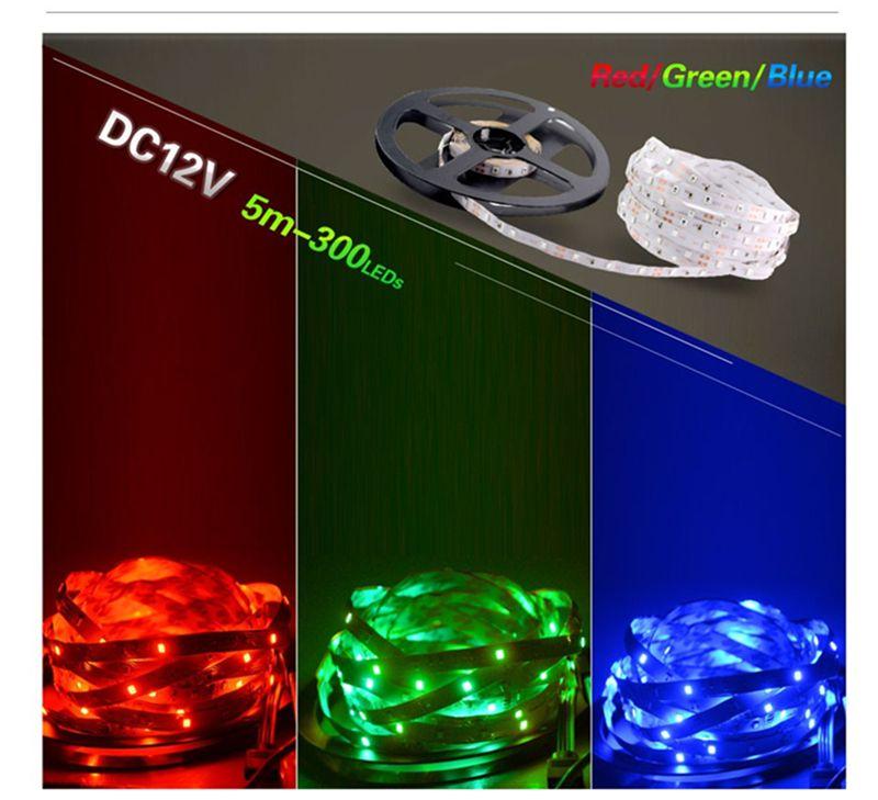 LED Strip Light DC12V 5m 300 LED SMD3528 5050 5630 diodetatape colori singoli nastro di alta qualità flessibile la decorazione domestica