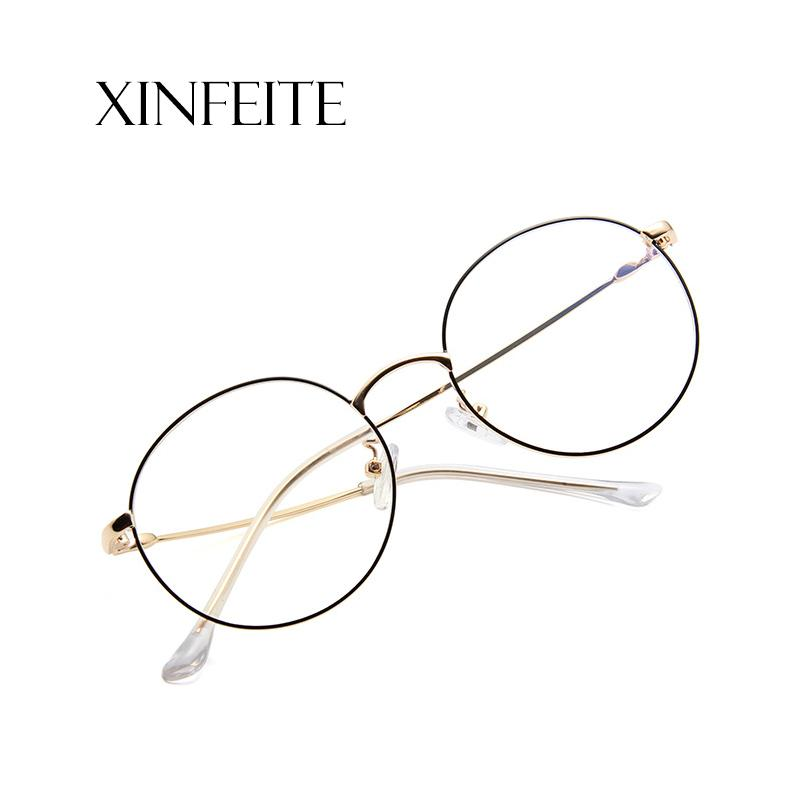 d63c419b59a Xinfeite Sunglasses 2018 New Fashion Metal Round Frame UV400 Clear ...