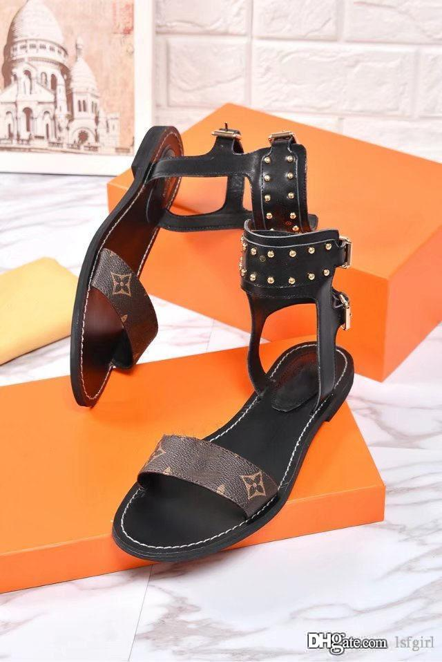 9a433ecf0 2018 Top New Word with Double Buckle Flat High-heeled Sandals Letters  Printed Rivets Rome Female Sandals Sandals Online with  59.89 Pair on  Lsfgirl s Store ...