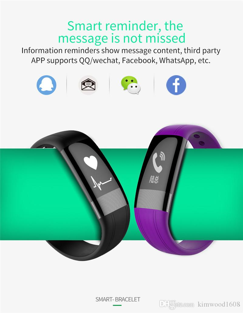 New Fashion E18 Smart Wristband Bracelet Blood Pressure Smartband Heart Rate Tracker Monitor For Android IOS OLED Screen Watches