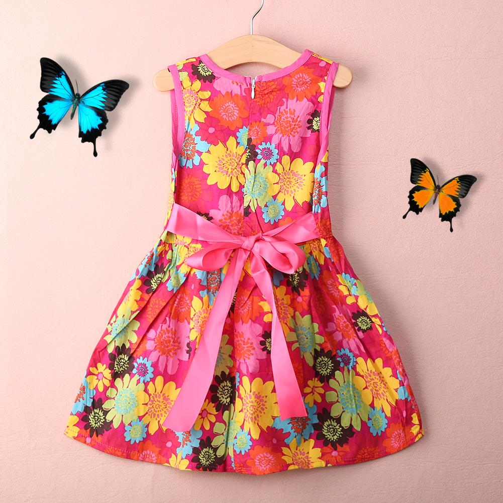 Sunflower girls dress sleeve summer printed floral princess girls dresses party dresses 2-6T