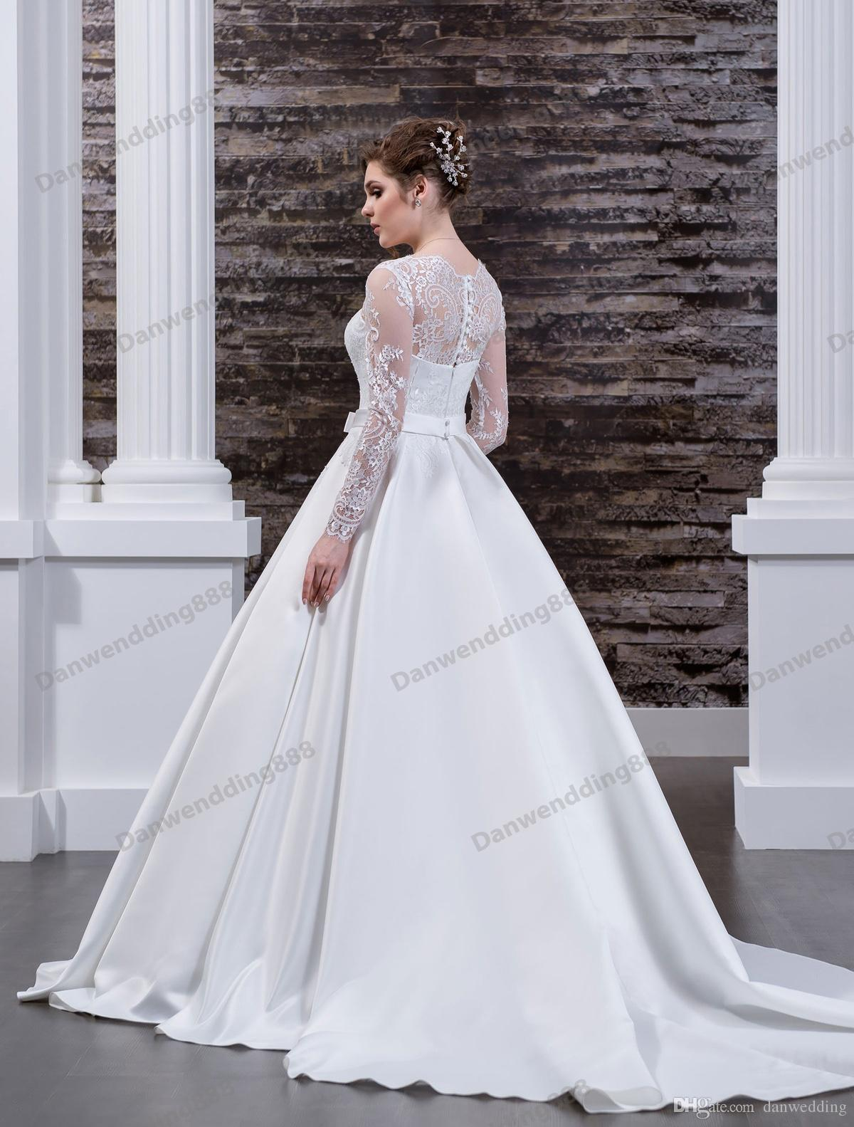 Elegant White Lace/Satin Scoop Long Sleeves A-Line Wedding Dresses Bridal Pageant Dresses Wedding Attire Dresses Custom Size 2-16 ZW608062