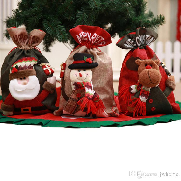 christmas gift bags christmas candy bag santa snowman deer cute fashion christmas drawstring gift bag dhl free christmas decorations catalogs christmas - Christmas Decor Catalogs Free